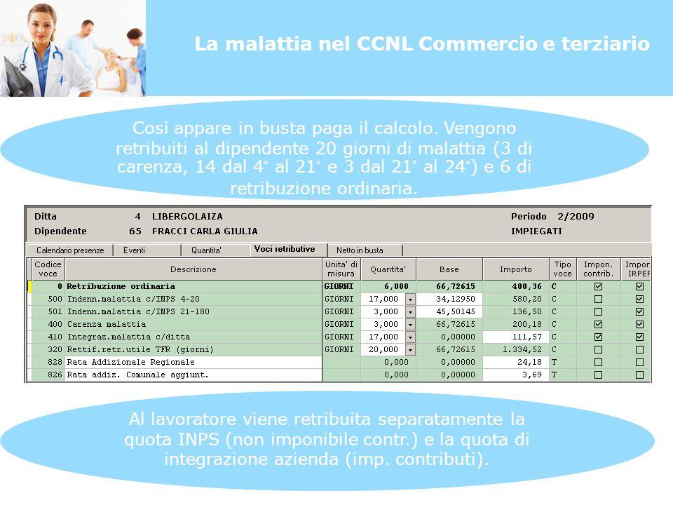 La malattia nel CCNL Commercio e terziario Così appare in busta paga il calcolo.