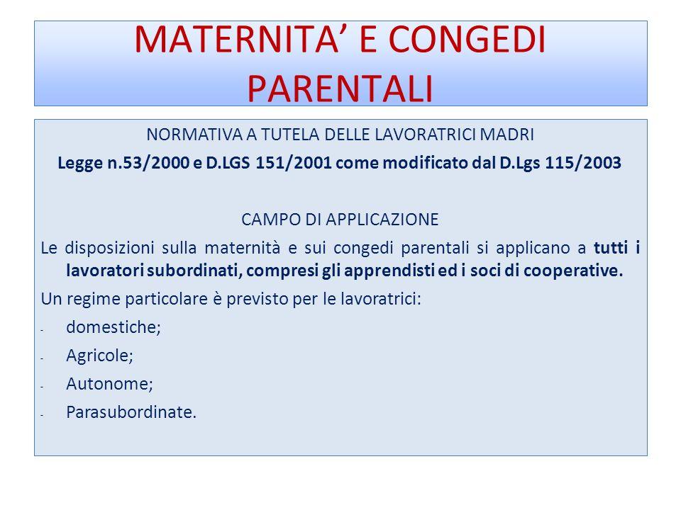 MATERNITA E CONGEDI PARENTALI NORMATIVA A TUTELA DELLE LAVORATRICI MADRI Legge n.53/2000 e D.LGS 151/2001 come modificato dal D.Lgs 115/2003 CAMPO DI APPLICAZIONE Le disposizioni sulla maternità e sui congedi parentali si applicano a tutti i lavoratori subordinati, compresi gli apprendisti ed i soci di cooperative.