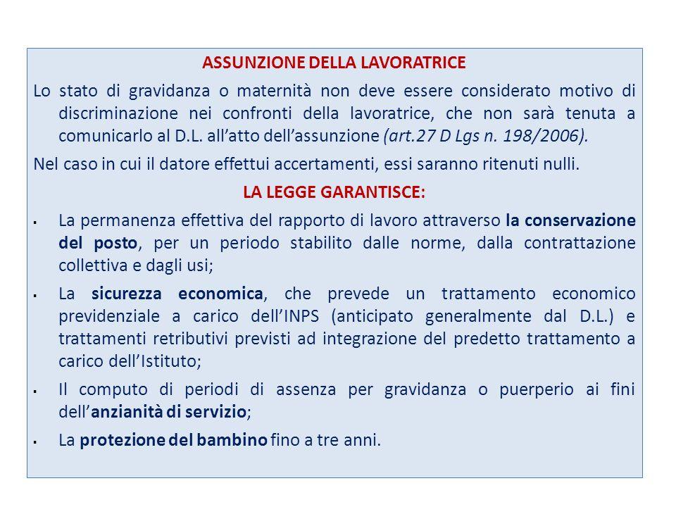 ASSUNZIONE DELLA LAVORATRICE Lo stato di gravidanza o maternità non deve essere considerato motivo di discriminazione nei confronti della lavoratrice, che non sarà tenuta a comunicarlo al D.L.