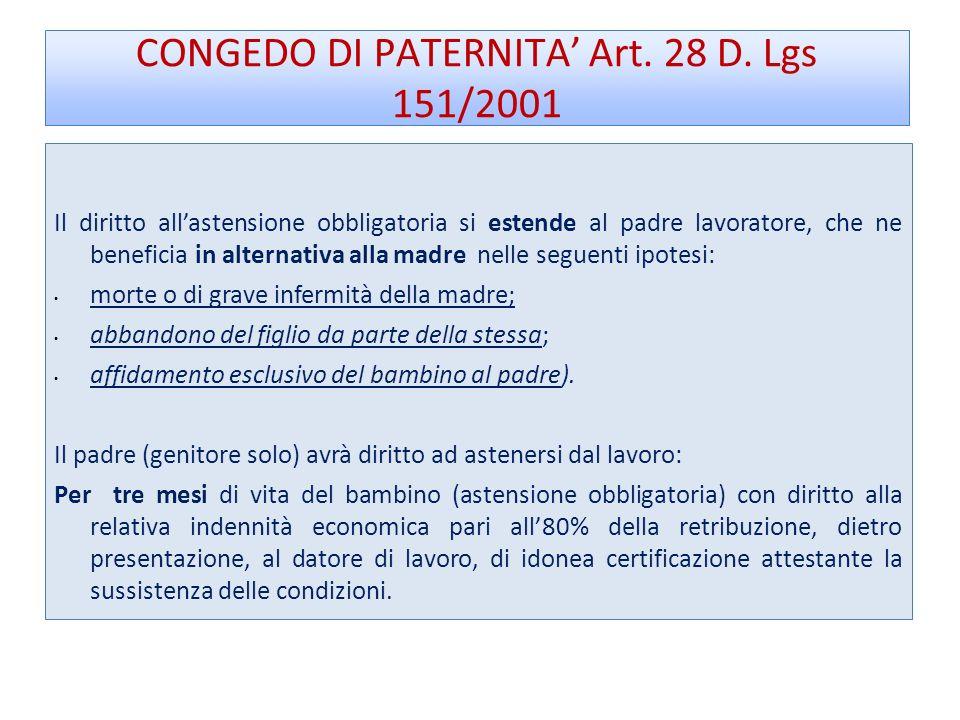 CONGEDO DI PATERNITA Art.28 D.