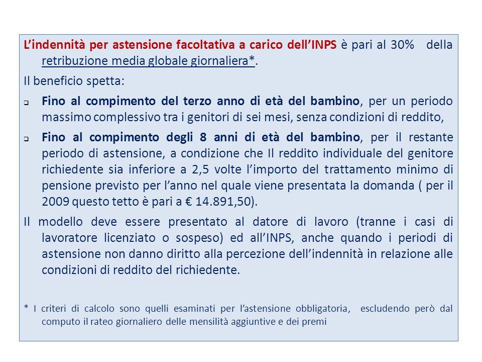 Lindennità per astensione facoltativa a carico dellINPS è pari al 30% della retribuzione media globale giornaliera*.