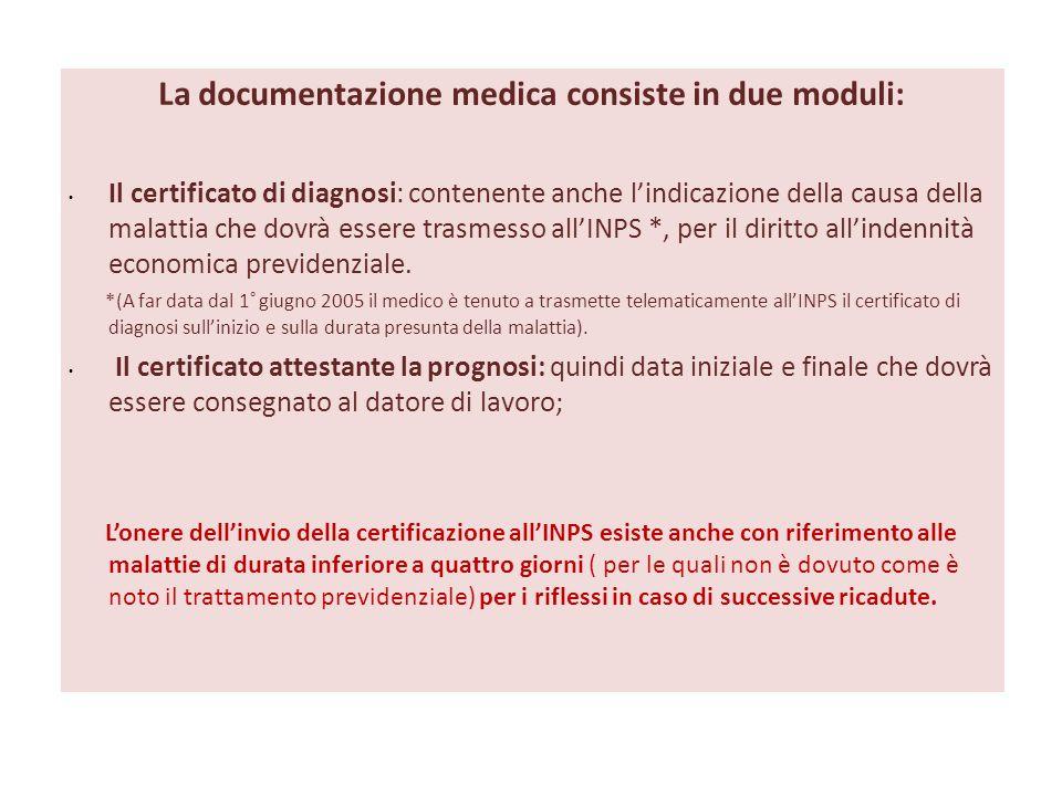 La documentazione medica consiste in due moduli: Il certificato di diagnosi: contenente anche lindicazione della causa della malattia che dovrà essere trasmesso allINPS *, per il diritto allindennità economica previdenziale.
