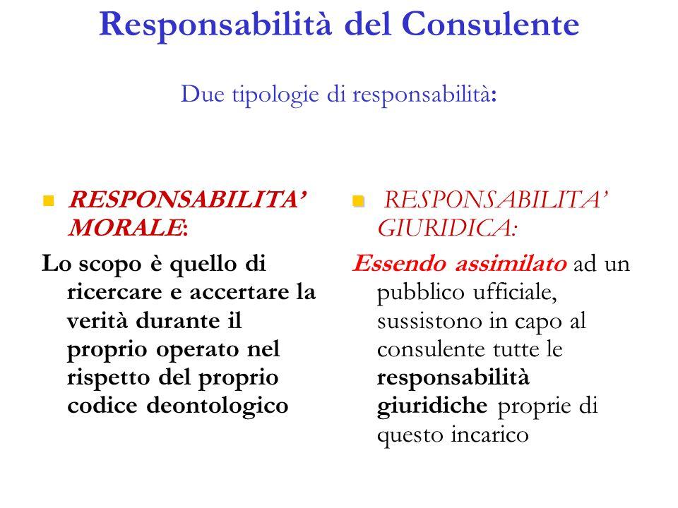 Responsabilità del Consulente Due tipologie di responsabilità: RESPONSABILITA MORALE: Lo scopo è quello di ricercare e accertare la verità durante il proprio operato nel rispetto del proprio codice deontologico RESPONSABILITA GIURIDICA: Essendo assimilato ad un pubblico ufficiale, sussistono in capo al consulente tutte le responsabilità giuridiche proprie di questo incarico