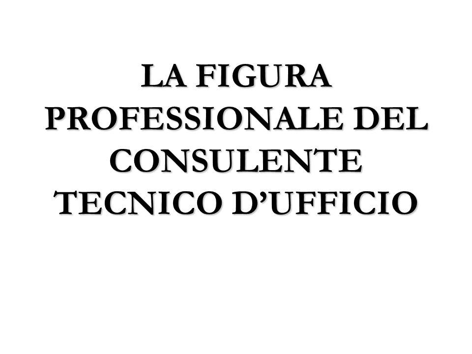 LA FIGURA PROFESSIONALE DEL CONSULENTE TECNICO DUFFICIO