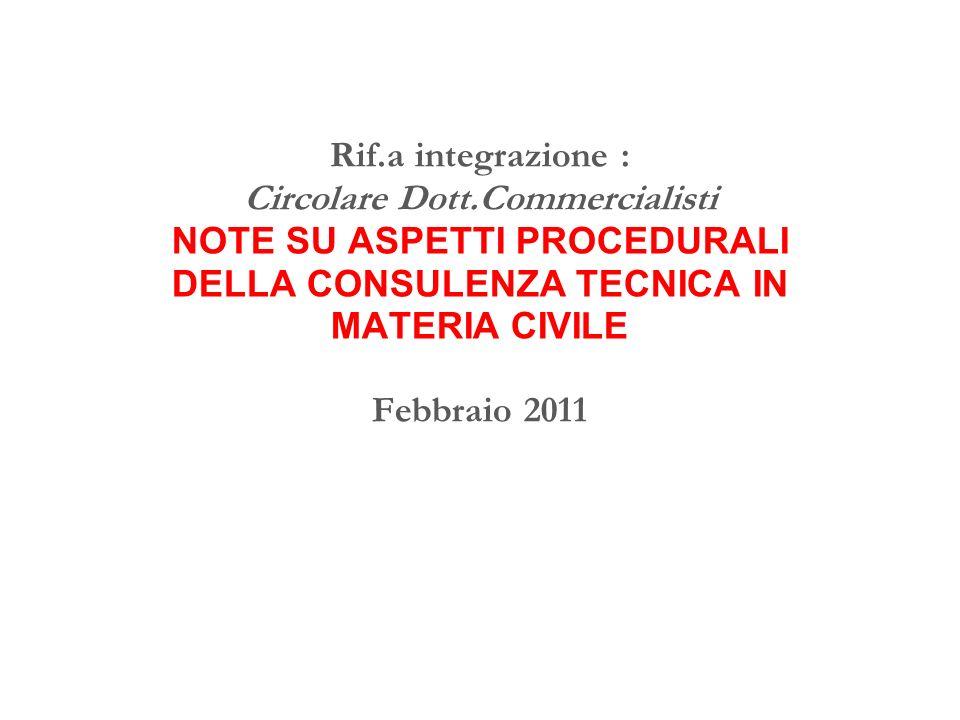 Rif.a integrazione : Circolare Dott.Commercialisti NOTE SU ASPETTI PROCEDURALI DELLA CONSULENZA TECNICA IN MATERIA CIVILE Febbraio 2011
