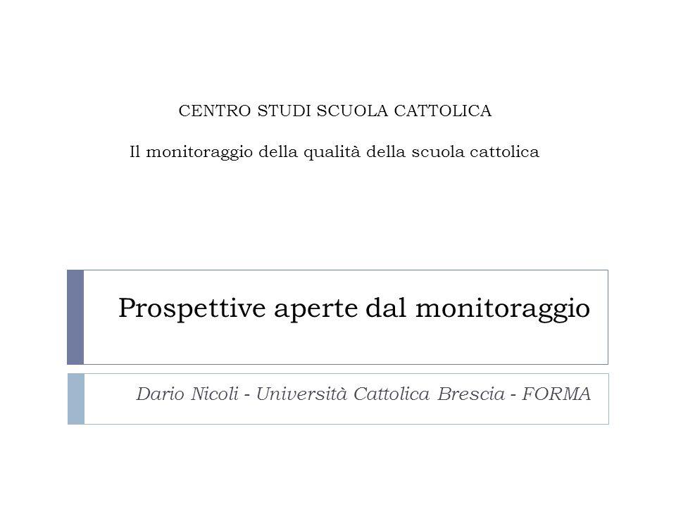 Prospettive aperte dal monitoraggio Dario Nicoli - Università Cattolica Brescia - FORMA CENTRO STUDI SCUOLA CATTOLICA Il monitoraggio della qualità della scuola cattolica