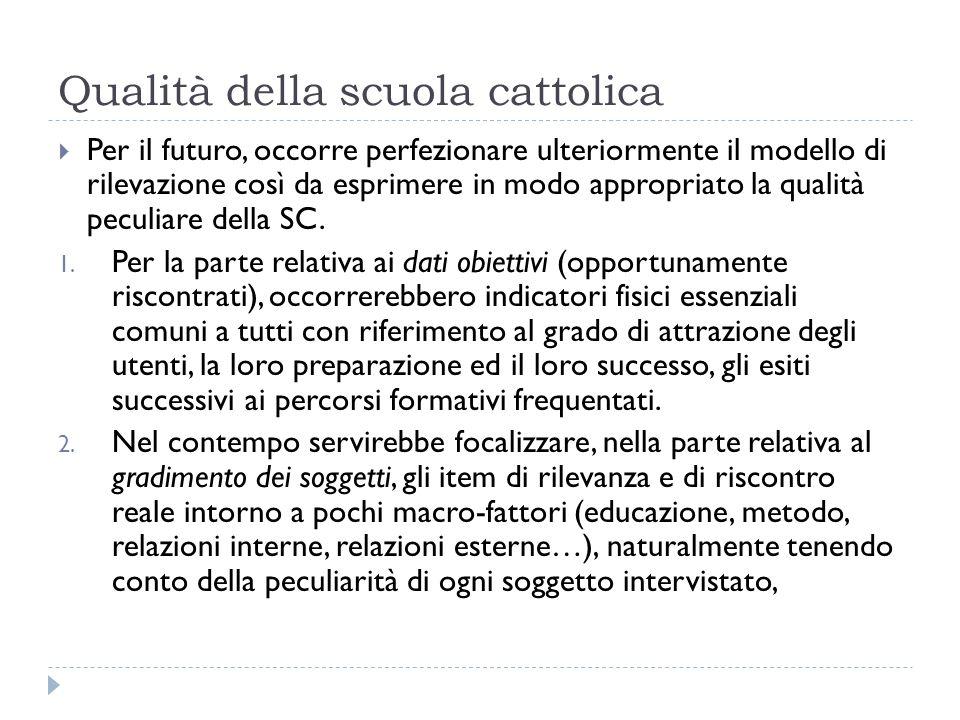 Qualità della scuola cattolica Per il futuro, occorre perfezionare ulteriormente il modello di rilevazione così da esprimere in modo appropriato la qualità peculiare della SC.