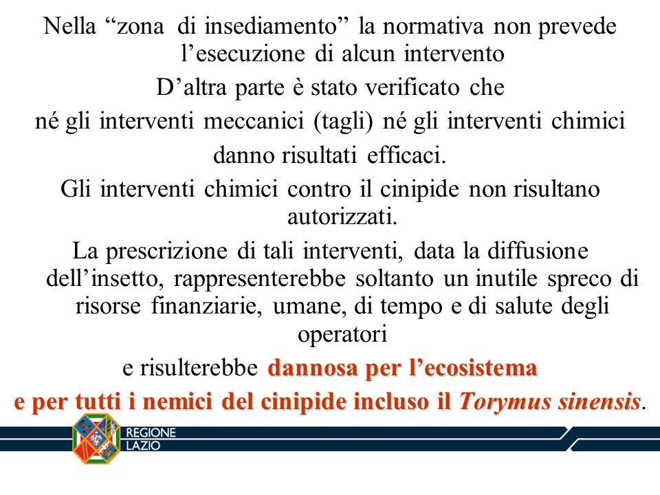 Nella zona di insediamento la normativa non prevede lesecuzione di alcun intervento Daltra parte è stato verificato che né gli interventi meccanici (t