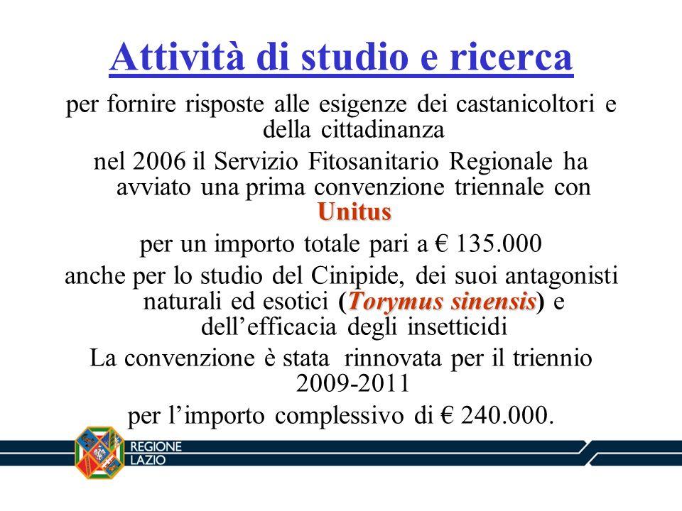 Attività di studio e ricerca per fornire risposte alle esigenze dei castanicoltori e della cittadinanza Unitus nel 2006 il Servizio Fitosanitario Regi