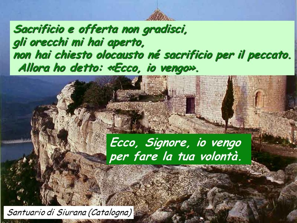 Santuario di La Nou (Catalogna) Salmo 39 Salmo 39 Ho sperato, ho sperato nel Signore, ed egli su di me si è chinato, ha dato ascolto al mio grido. Mi