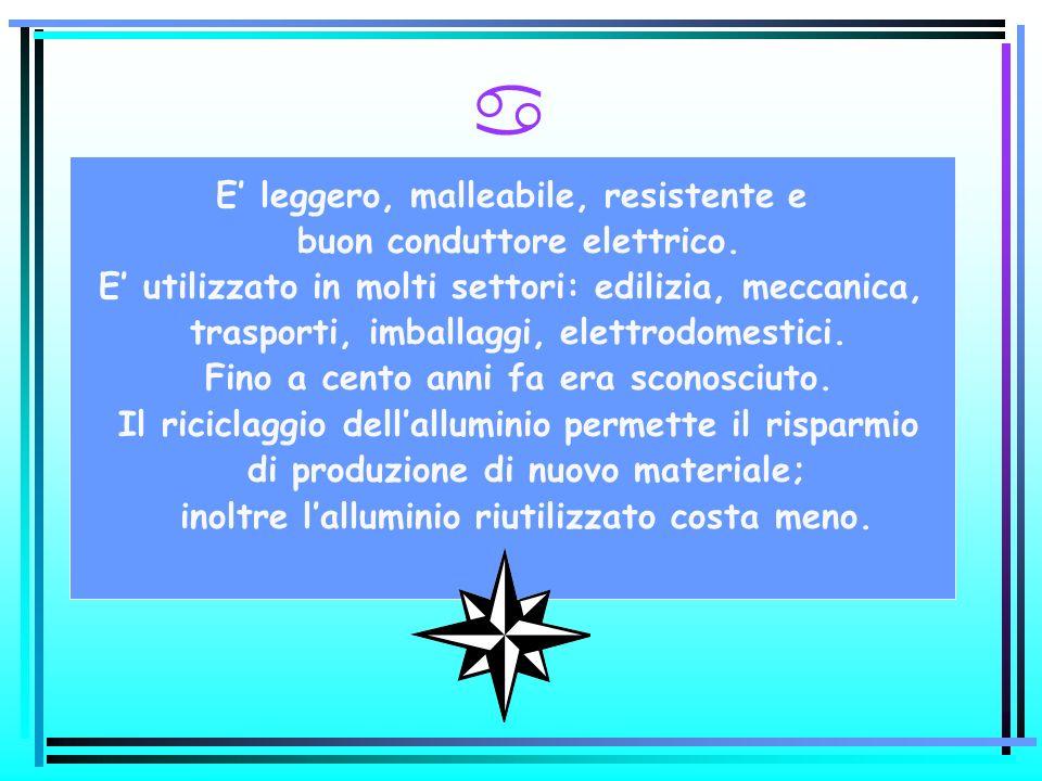 a E leggero, malleabile, resistente e buon conduttore elettrico. E utilizzato in molti settori: edilizia, meccanica, trasporti, imballaggi, elettrodom