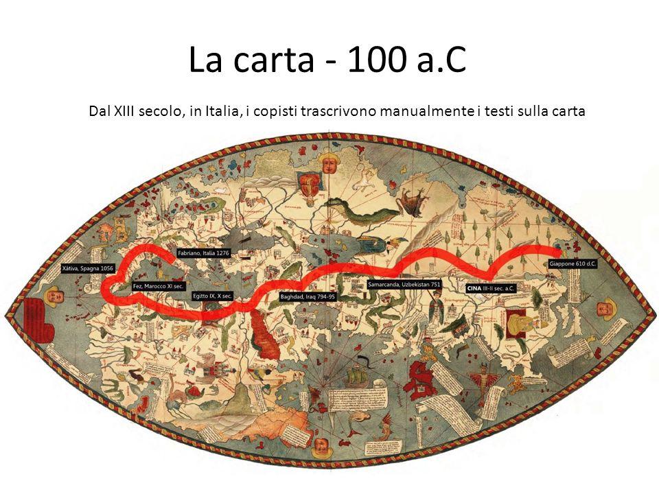 La carta - 100 a.C Dal XIII secolo, in Italia, i copisti trascrivono manualmente i testi sulla carta