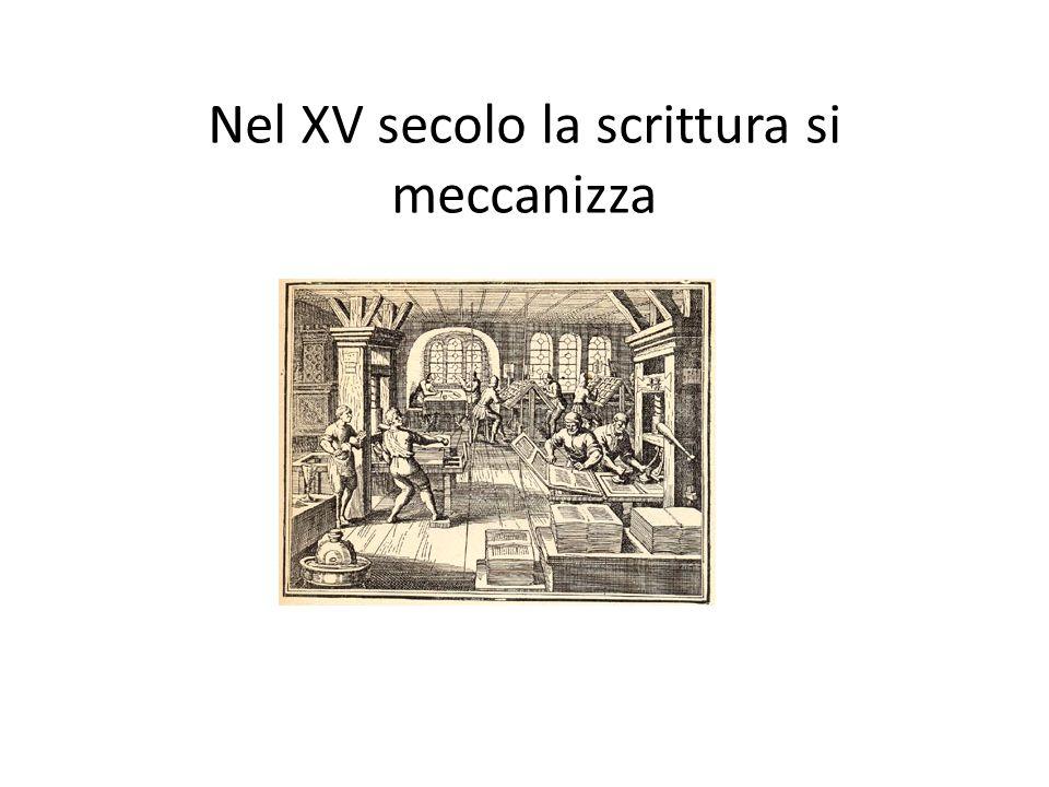 Nel XV secolo la scrittura si meccanizza