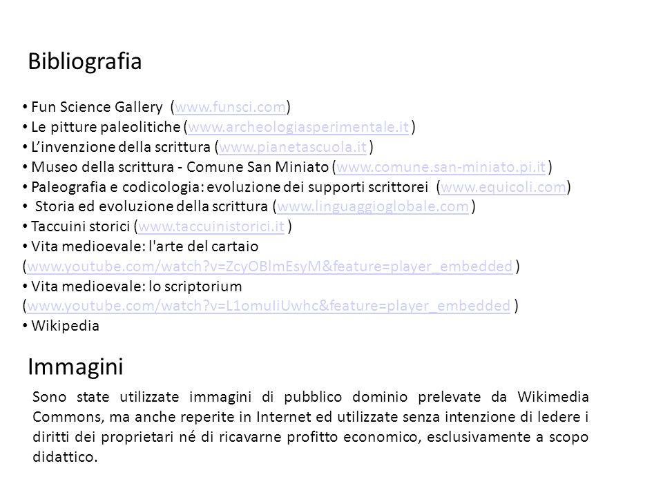 Bibliografia Fun Science Gallery (www.funsci.com)www.funsci.com Le pitture paleolitiche (www.archeologiasperimentale.it )www.archeologiasperimentale.i