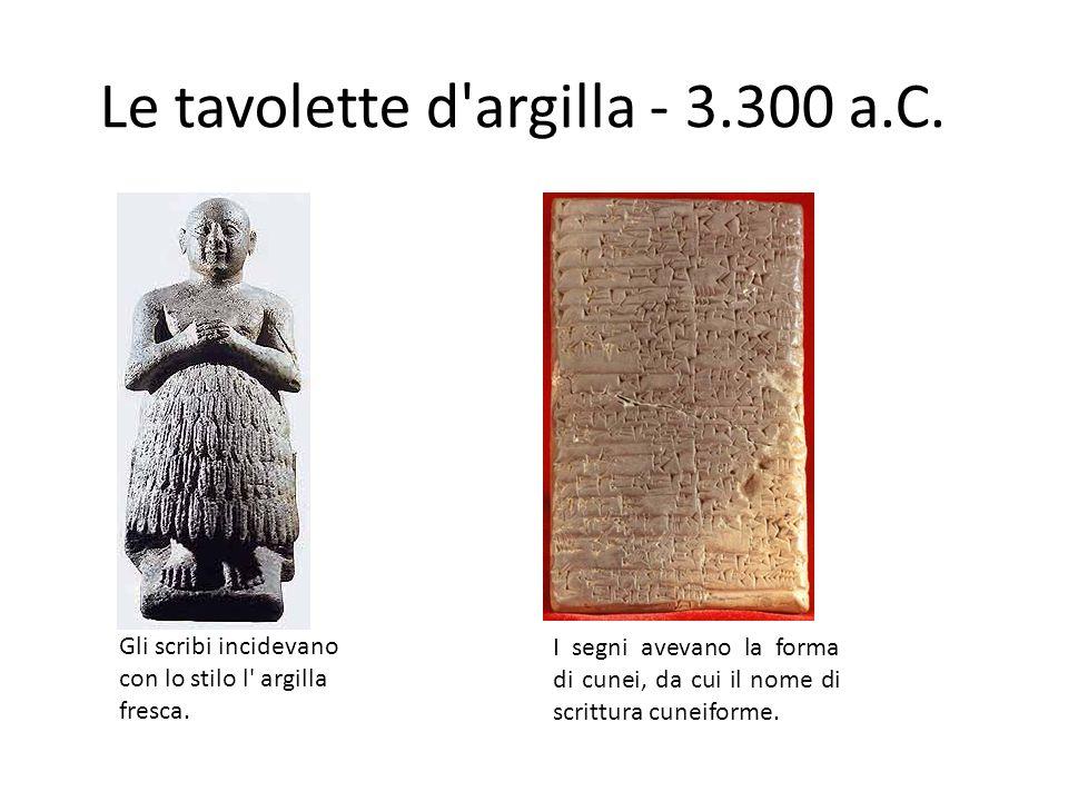 Le tavolette d'argilla - 3.300 a.C. Gli scribi incidevano con lo stilo l' argilla fresca. I segni avevano la forma di cunei, da cui il nome di scrittu