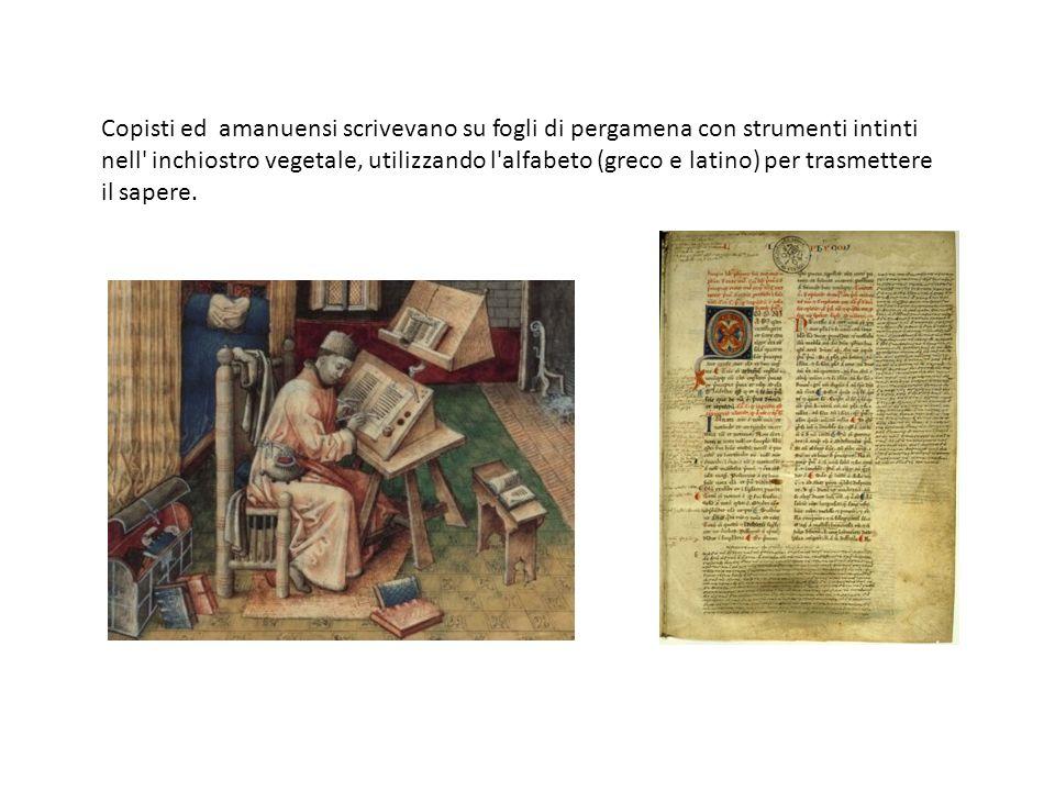 Dal Copisti ed amanuensi scrivevano su fogli di pergamena con strumenti intinti nell' inchiostro vegetale, utilizzando l'alfabeto (greco e latino) per