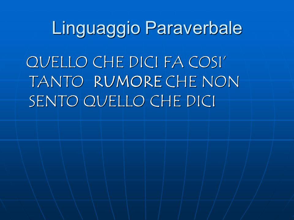 Linguaggio Paraverbale QUELLO CHE DICI FA COSI TANTO RUMORE CHE NON SENTO QUELLO CHE DICI