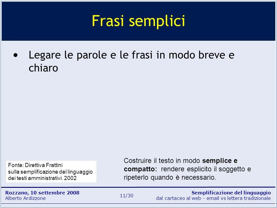 Semplificazione del linguaggio dal cartaceo al web - email vs lettera tradizionale Rozzano, 10 settembre 2008 Alberto Ardizzone 11/30 Legare le parole