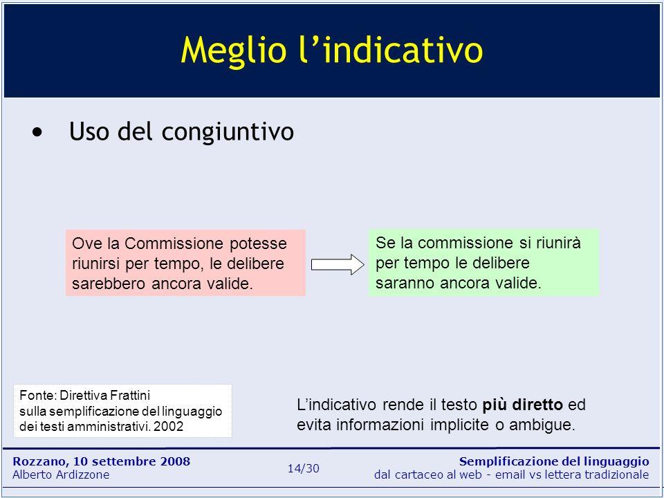 Semplificazione del linguaggio dal cartaceo al web - email vs lettera tradizionale Rozzano, 10 settembre 2008 Alberto Ardizzone 14/30 Uso del congiunt