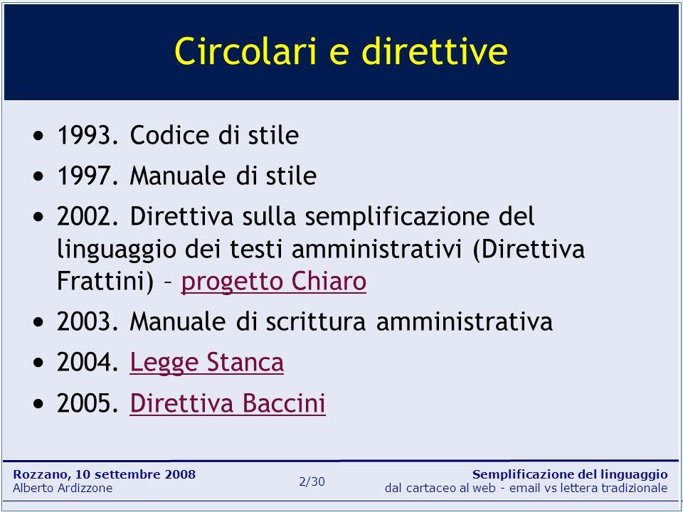 Semplificazione del linguaggio dal cartaceo al web - email vs lettera tradizionale Rozzano, 10 settembre 2008 Alberto Ardizzone 2/30 Circolari e diret