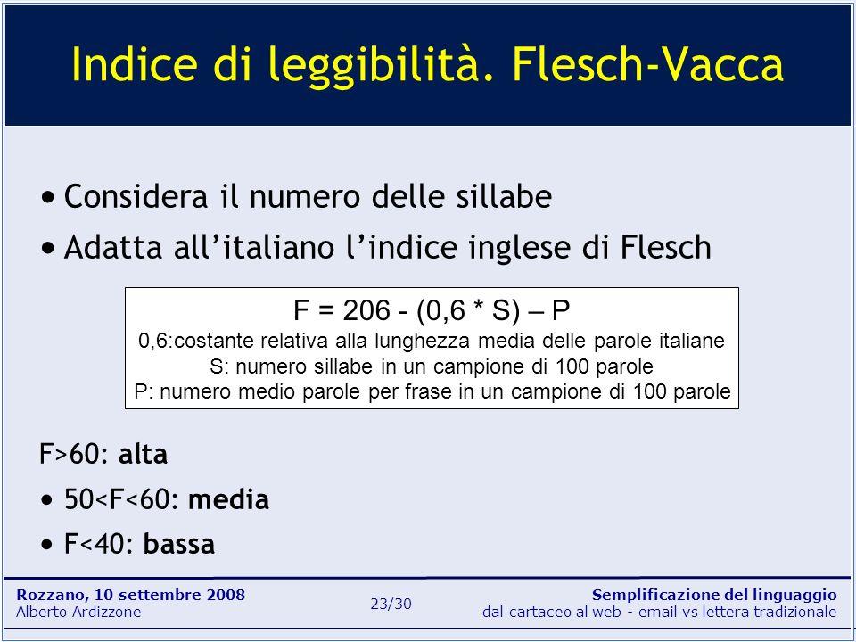 Semplificazione del linguaggio dal cartaceo al web - email vs lettera tradizionale Rozzano, 10 settembre 2008 Alberto Ardizzone 23/30 Considera il num