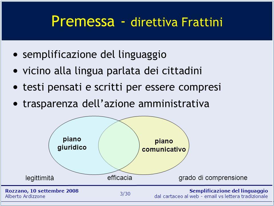 Semplificazione del linguaggio dal cartaceo al web - email vs lettera tradizionale Rozzano, 10 settembre 2008 Alberto Ardizzone 3/30 Premessa - dirett