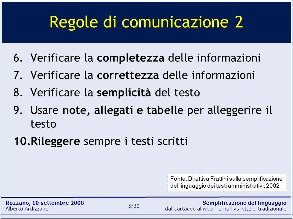 Semplificazione del linguaggio dal cartaceo al web - email vs lettera tradizionale Rozzano, 10 settembre 2008 Alberto Ardizzone 16/30 Non si tratta di eliminare gli aggettivi, ma di non accontentarsi di sciorinarli sulla pagina, anche perché il lettore sarà il primo a non accontentarsi.