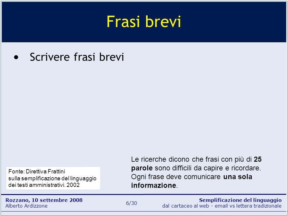 Semplificazione del linguaggio dal cartaceo al web - email vs lettera tradizionale Rozzano, 10 settembre 2008 Alberto Ardizzone 6/30 Scrivere frasi br