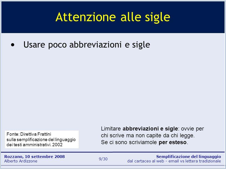 Semplificazione del linguaggio dal cartaceo al web - email vs lettera tradizionale Rozzano, 10 settembre 2008 Alberto Ardizzone 9/30 Usare poco abbrev