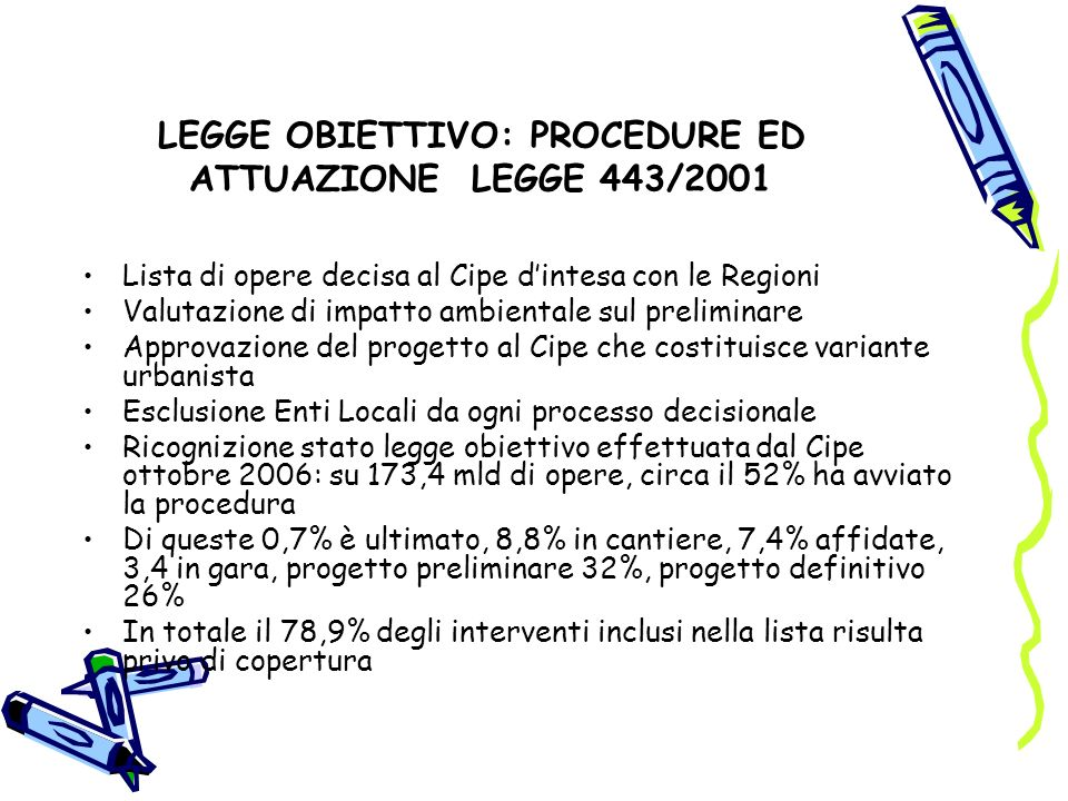 LEGGE OBIETTIVO: PROCEDURE ED ATTUAZIONE LEGGE 443/2001 Lista di opere decisa al Cipe dintesa con le Regioni Valutazione di impatto ambientale sul preliminare Approvazione del progetto al Cipe che costituisce variante urbanista Esclusione Enti Locali da ogni processo decisionale Ricognizione stato legge obiettivo effettuata dal Cipe ottobre 2006: su 173,4 mld di opere, circa il 52% ha avviato la procedura Di queste 0,7% è ultimato, 8,8% in cantiere, 7,4% affidate, 3,4 in gara, progetto preliminare 32%, progetto definitivo 26% In totale il 78,9% degli interventi inclusi nella lista risulta privo di copertura