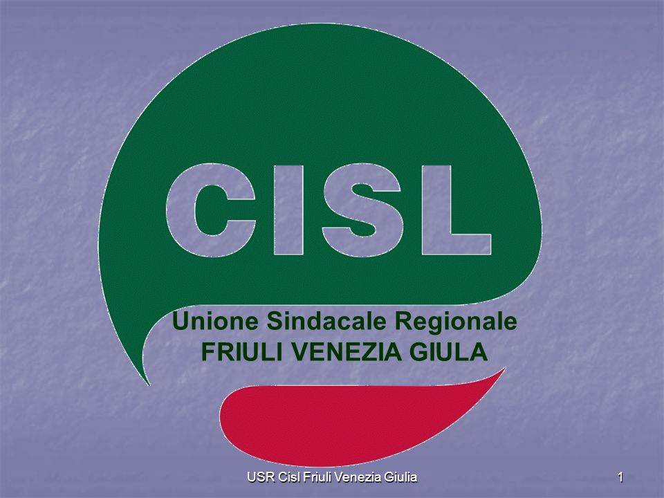 USR Cisl Friuli Venezia Giulia1 Unione Sindacale Regionale FRIULI VENEZIA GIULA