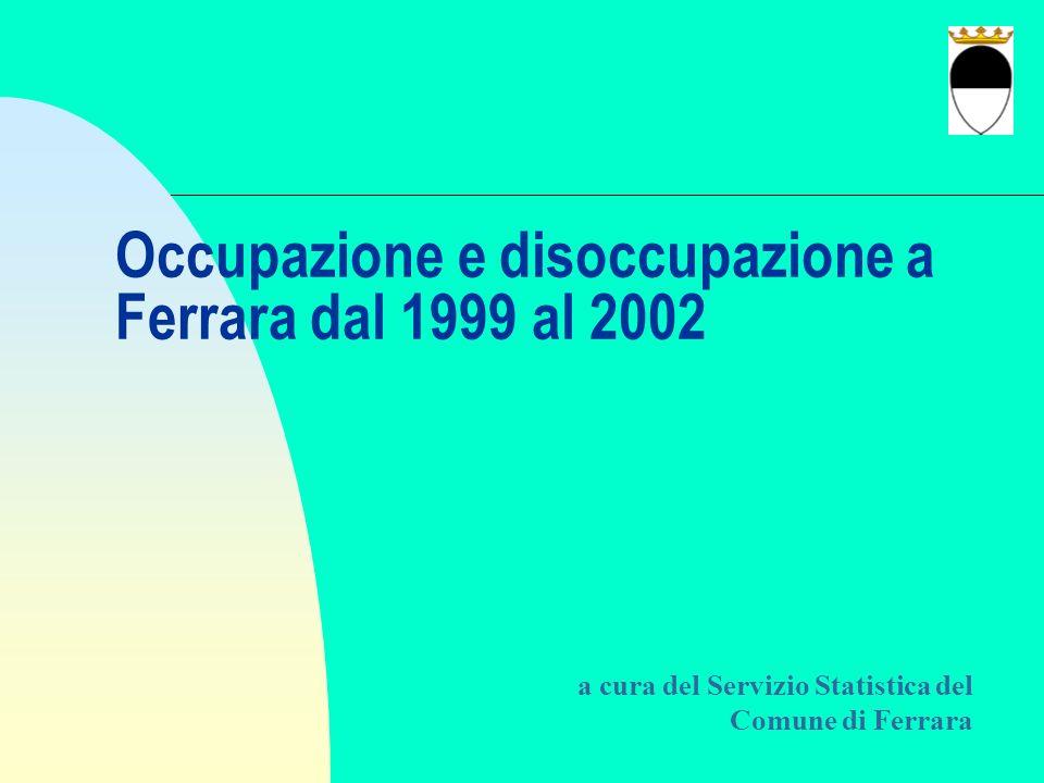 Occupazione e disoccupazione a Ferrara dal 1999 al 2002 a cura del Servizio Statistica del Comune di Ferrara