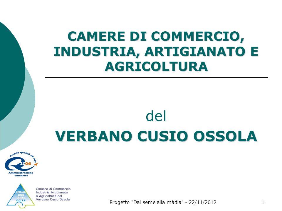 Progetto Dal seme alla màdia - 22/11/20121 CAMERE DI COMMERCIO, INDUSTRIA, ARTIGIANATO E AGRICOLTURA del VERBANO CUSIO OSSOLA
