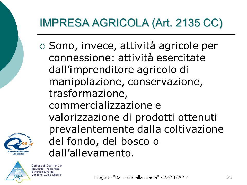 Progetto Dal seme alla màdia - 22/11/201223 IMPRESA AGRICOLA (Art.