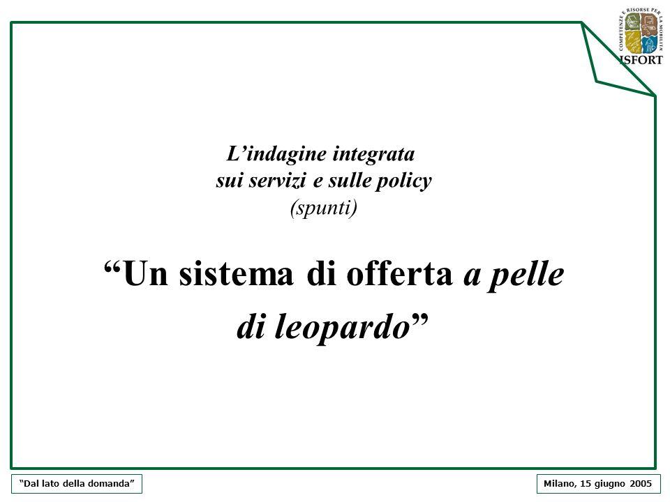 Milano, 15 giugno 2005Dal lato della domanda Lindagine integrata sui servizi e sulle policy (spunti) Un sistema di offerta a pelle di leopardo