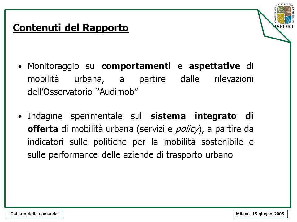 Contenuti del Rapporto Monitoraggio su comportamenti e aspettative di mobilità urbana, a partire dalle rilevazioni dellOsservatorio Audimob Indagine s