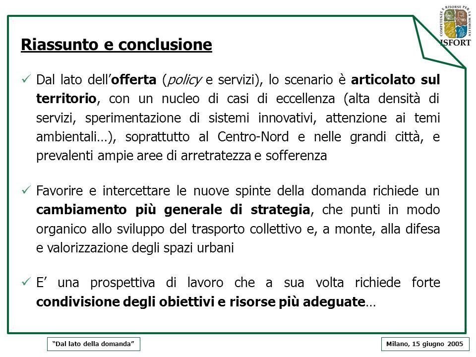 Riassunto e conclusione Dal lato dellofferta (policy e servizi), lo scenario è articolato sul territorio, con un nucleo di casi di eccellenza (alta de
