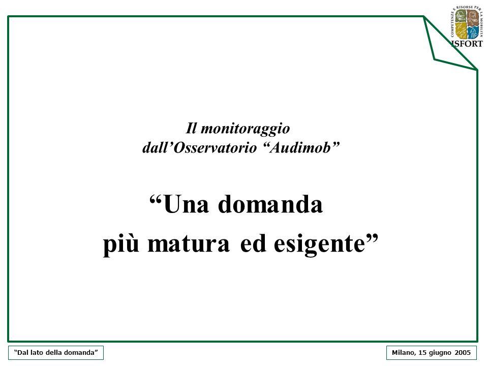 Milano, 15 giugno 2005Dal lato della domanda Il monitoraggio dallOsservatorio Audimob Una domanda più matura ed esigente