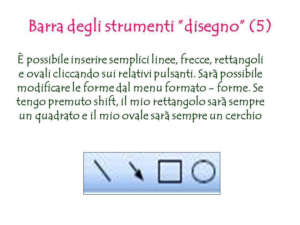 Barra degli strumenti disegno (5) È possibile inserire semplici linee, frecce, rettangoli e ovali cliccando sui relativi pulsanti. Sarà possibile modi