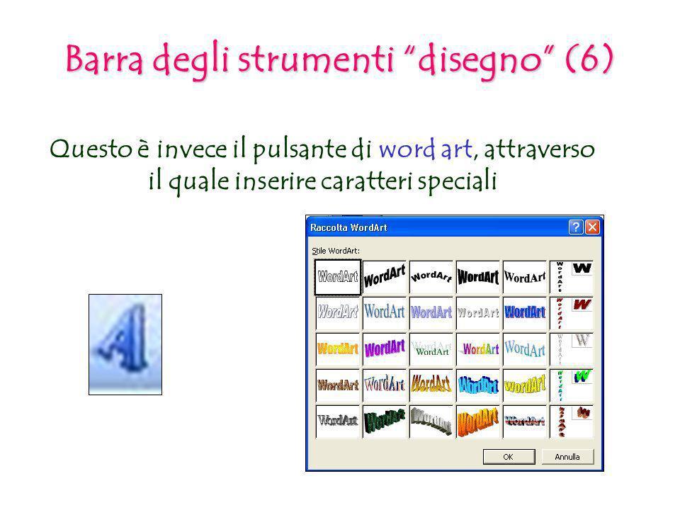 Barra degli strumenti disegno (6) Questo è invece il pulsante di word art, attraverso il quale inserire caratteri speciali