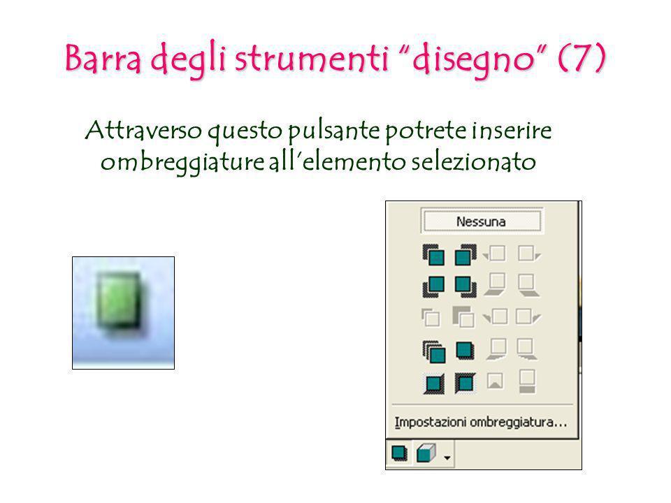 Attraverso questo pulsante potrete inserire ombreggiature allelemento selezionato Barra degli strumenti disegno (7)