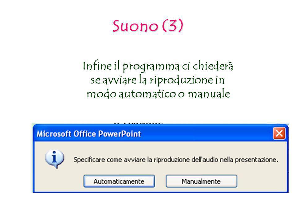 Suono (3) Infine il programma ci chiederà se avviare la riproduzione in modo automatico o manuale
