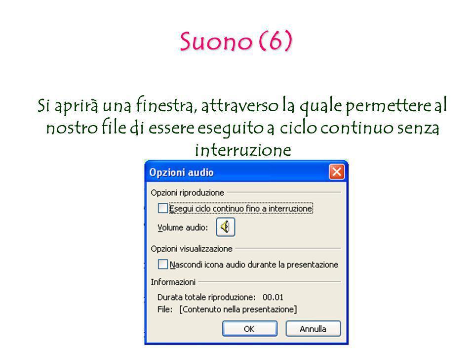 Suono (6) Si aprirà una finestra, attraverso la quale permettere al nostro file di essere eseguito a ciclo continuo senza interruzione