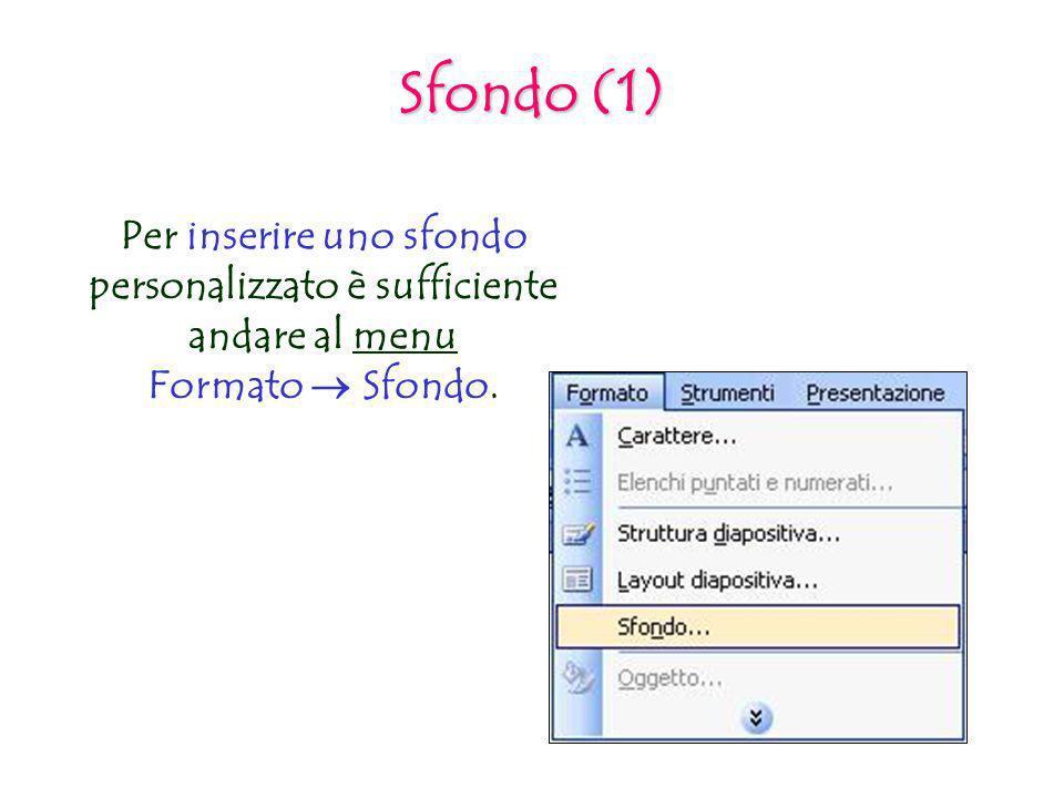 Sfondo (1) Per inserire uno sfondo personalizzato è sufficiente andare al menu Formato Sfondo.