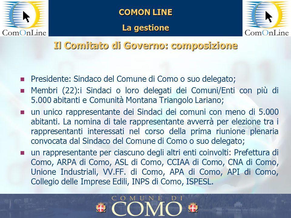 COMON LINE La gestione Il Comitato di Governo: composizione Presidente: Sindaco del Comune di Como o suo delegato; Membri (22):i Sindaci o loro delega