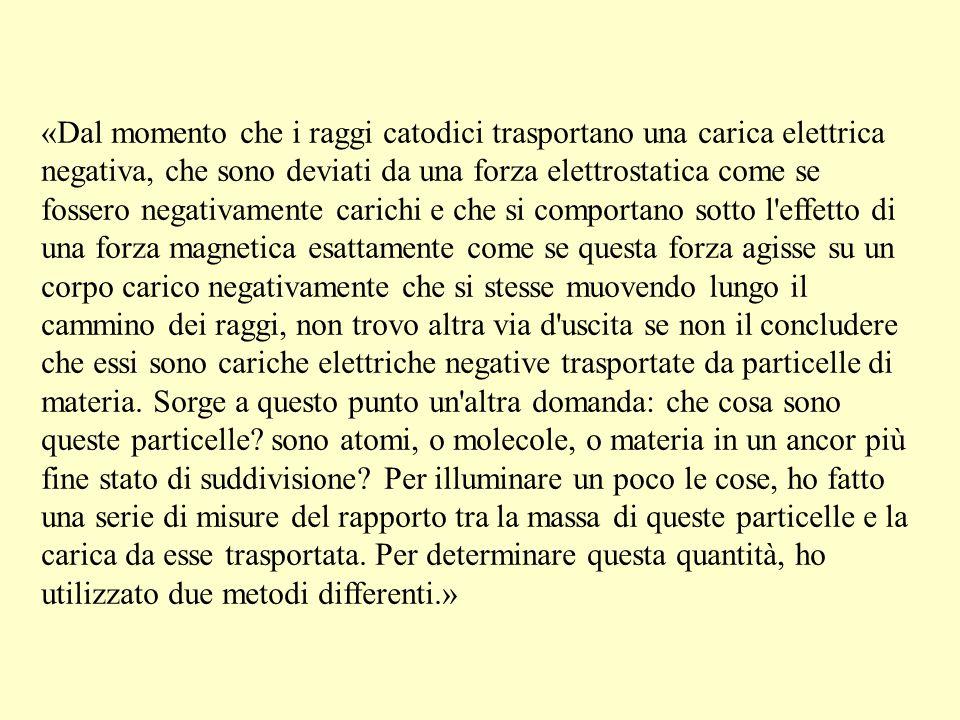 «Dal momento che i raggi catodici trasportano una carica elettrica negativa, che sono deviati da una forza elettrostatica come se fossero negativament