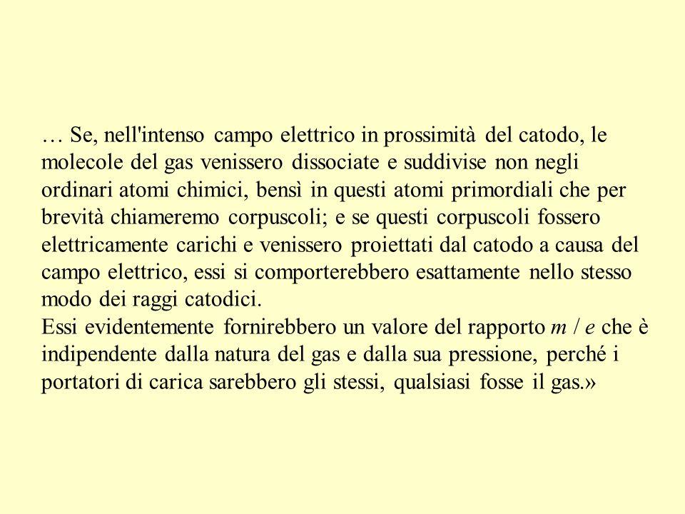 … Se, nell'intenso campo elettrico in prossimità del catodo, le molecole del gas venissero dissociate e suddivise non negli ordinari atomi chimici, be
