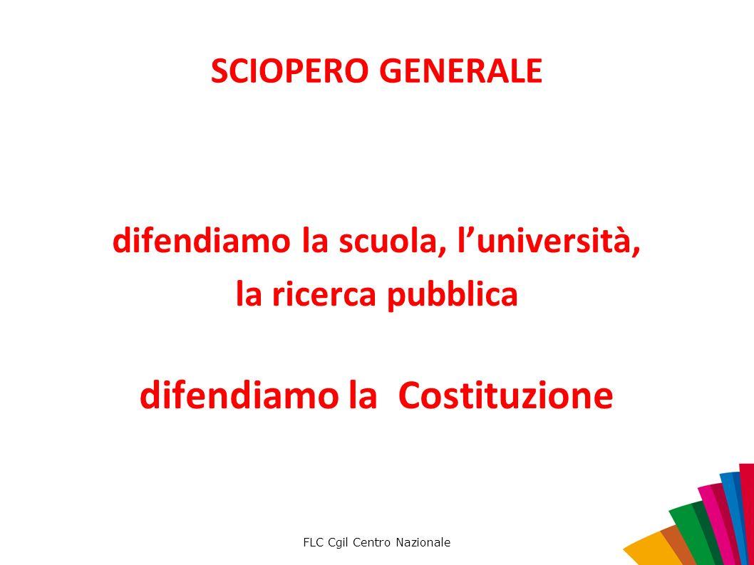 FLC Cgil Centro Nazionale SCIOPERO GENERALE difendiamo la scuola, luniversità, la ricerca pubblica difendiamo la Costituzione