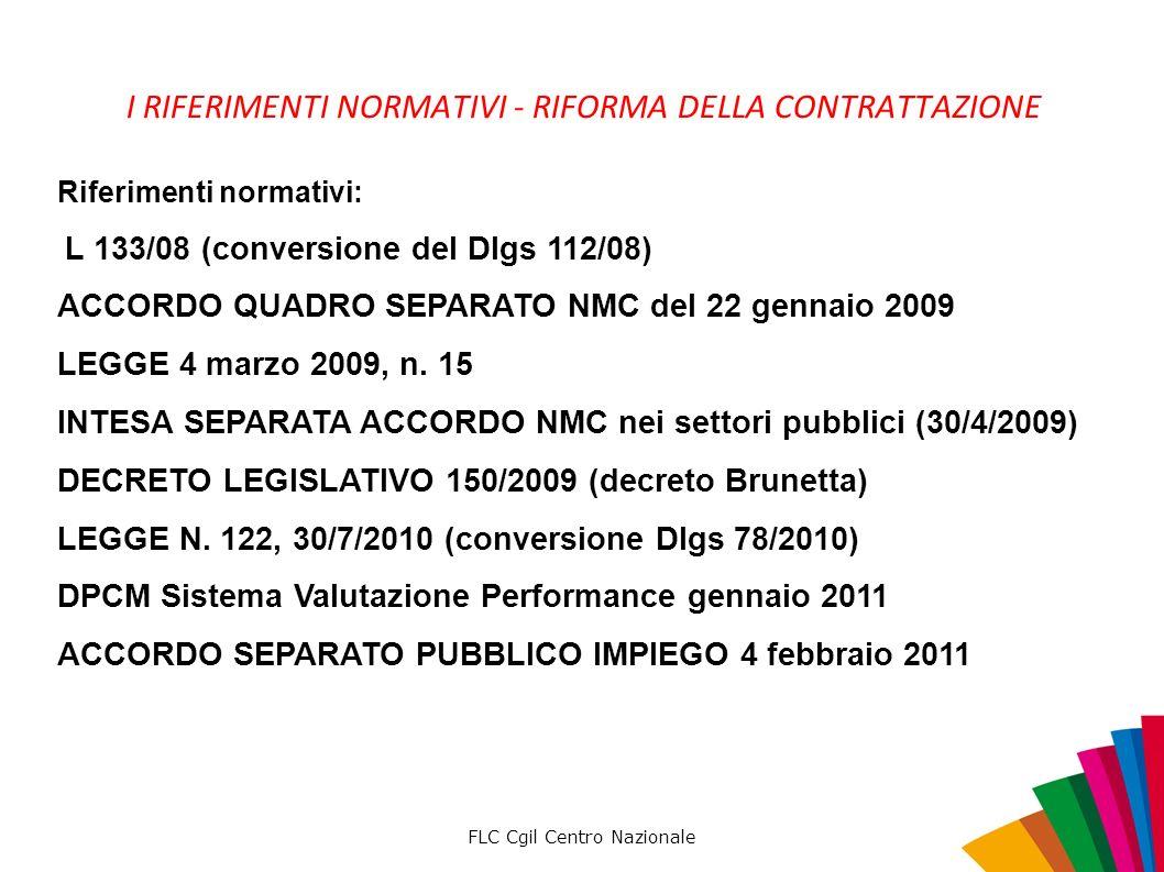 FLC Cgil Centro Nazionale Riferimenti normativi: L 133/08 (conversione del Dlgs 112/08) ACCORDO QUADRO SEPARATO NMC del 22 gennaio 2009 LEGGE 4 marzo 2009, n.