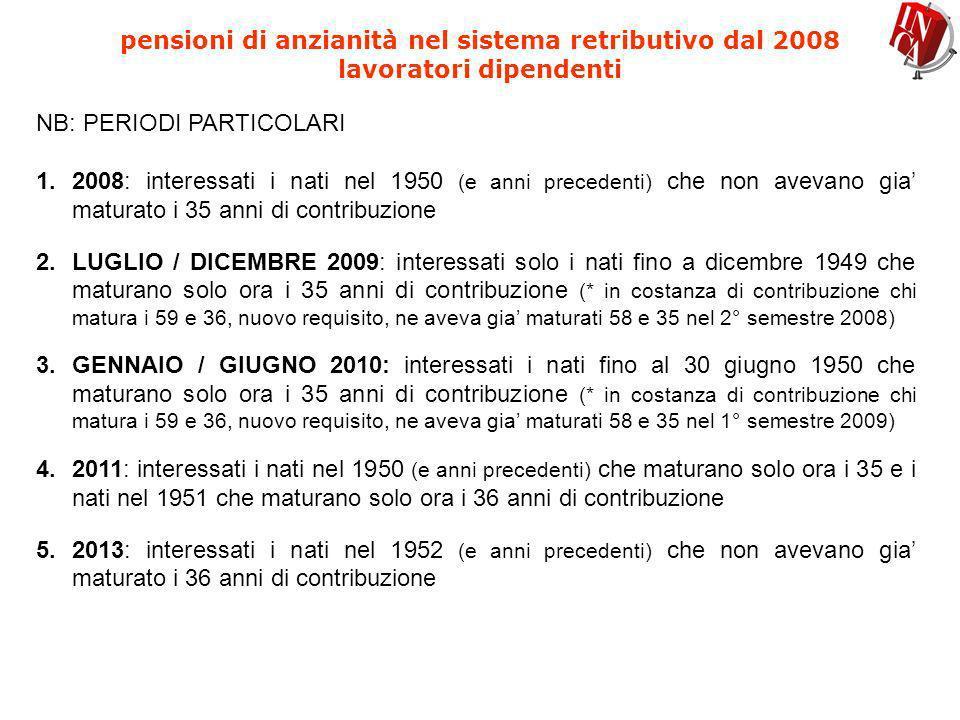 pensioni di anzianità nel sistema retributivo dal 2008 lavoratori dipendenti NB: PERIODI PARTICOLARI 1.2008: interessati i nati nel 1950 (e anni prece